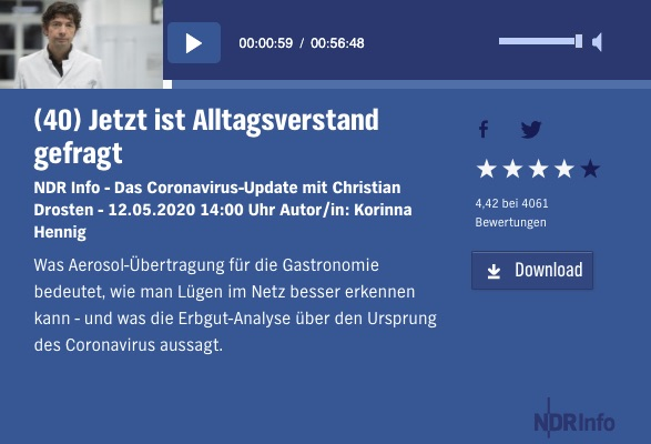 NDR Podcast Dr. Drosten Aerosole